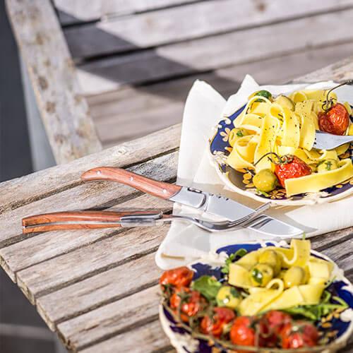laguiole style de vie rozenhout steakvork en mes