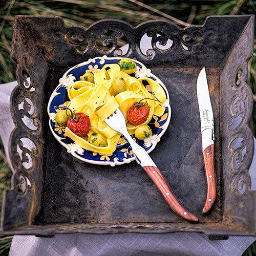 rozenhout vork en mes laguiole style de vie
